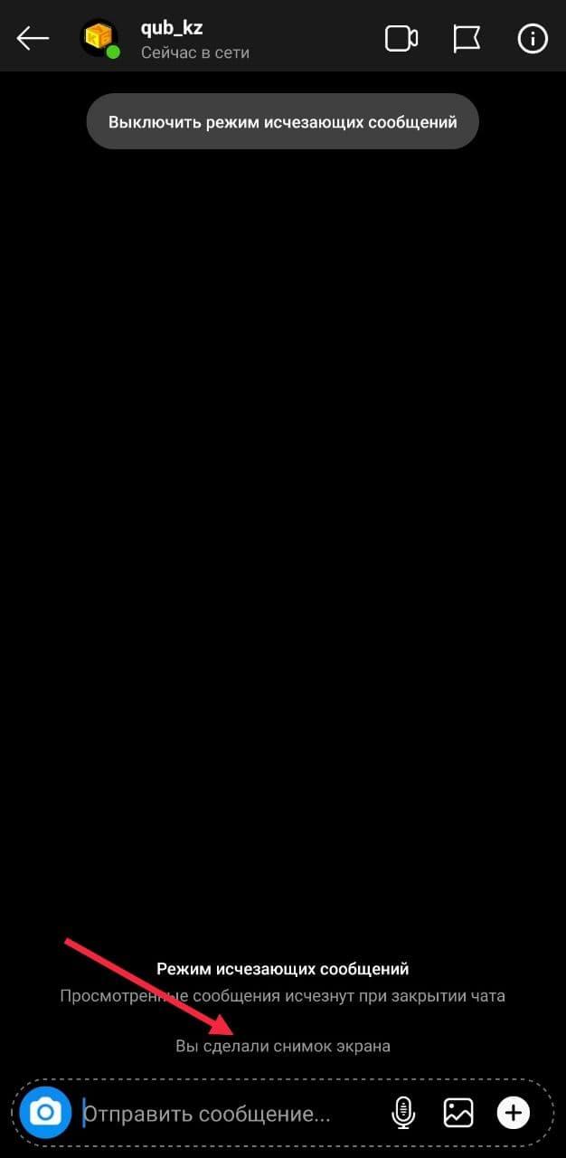Скриншот в Режиме исчезающих сообщений